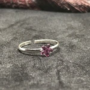 Cute 925 silver toe ring Pink